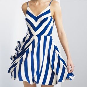 Amanda Uprichard Haley chevron striped silk dress